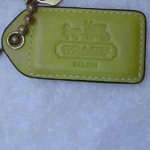Coach XL Yellow Leather Gold Hangtag Fob Charm